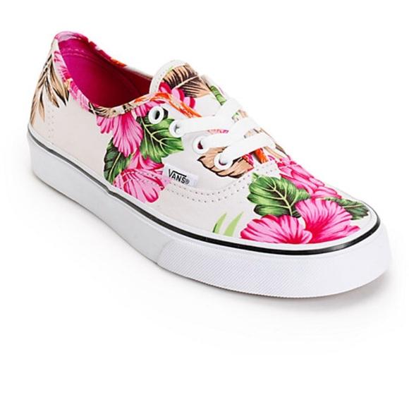 5a6bc410 Vans Shoes | Nwot Tropical Hawaiian Print Sneakers 7m 85w | Poshmark